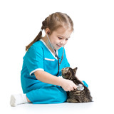 Kid girl playing doctor with kitten isolated