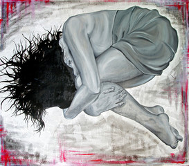 Original oil painting of depressive woman