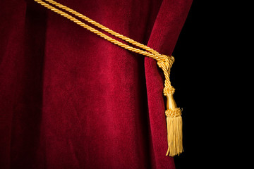 Red velvet curtain with tassel