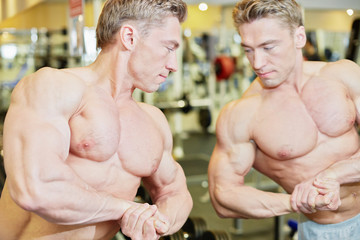 Bodybuilder poses in gym hall demonstrating muscles