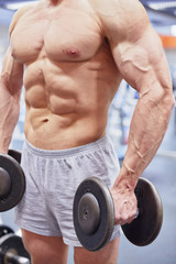 Muscular torso and hands with dumbells of man standing