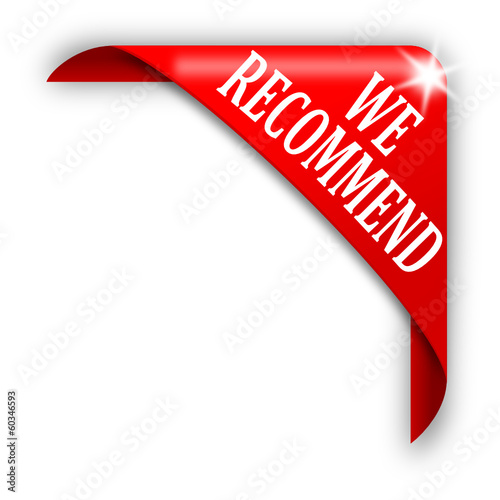 Red corner with white lettering recommend - vector