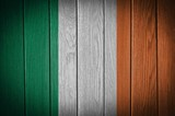 Ireland Flag painted on old wood plank background