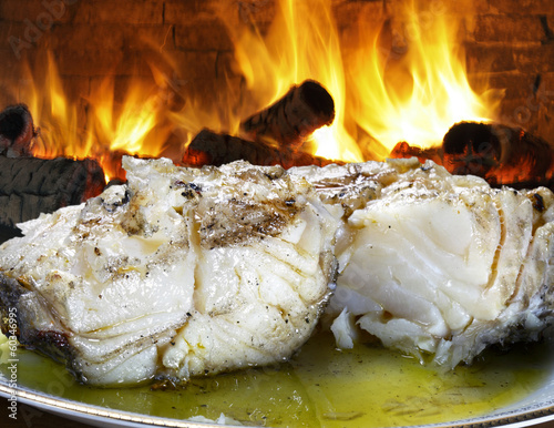 Baked cod with olive oil