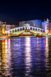 The Rialto bridge, Venice, Italy. Night. River. Grand canal