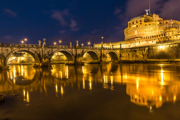 The night view of the castle and bridge of Sant'Angelo in Rome,I