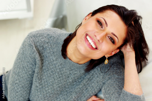 Closeup portrait of a middle-aged cheerful woman © Drobot Dean
