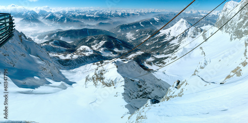 Winter Dachstein mountain massif panorama.