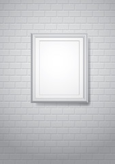 frame on white brickwall