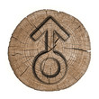 Male sign sex, wooden label