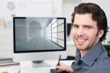 Fototapety architekt arbeitet am computer
