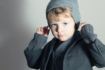 Fashionable Little Boy in Cap.Stylish Kid.Fashion Children