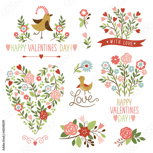 Valentine's day graphic elements, vector collection