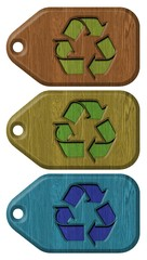 set of wooden labels with recycling symbol isolated
