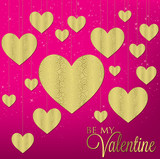 Hanging filigree heart card in vector format. poster
