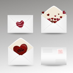 Set of mail icons with hearts