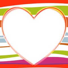 cœur sur fond vif rayé