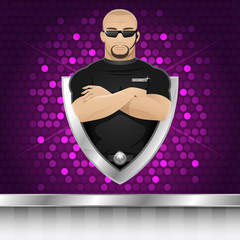 Background man security guard of nightclub