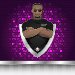 Background black man security guard of nightclub