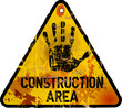 Construction area sign, grungy style, vector illustration