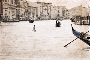 Artwork in retro style, Venice, Italy