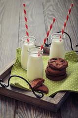 Milk in small jars