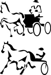 stylized trotter and harness racing