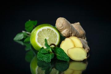 mint, ginger and lemon