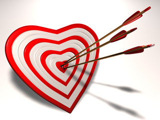Heart shaped target with Cupid arrows in it.