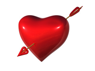 Heart pierced by Cupid arrow