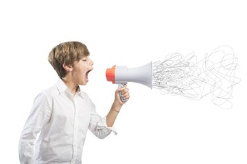 Child screaming on the megaphone