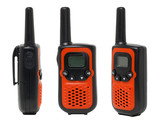 Three view of orange walkie talkie. isolated on white background
