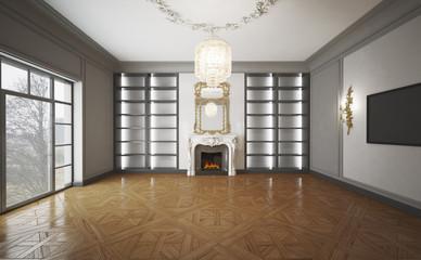 Habitación clásica con parquet y lámpara moderna
