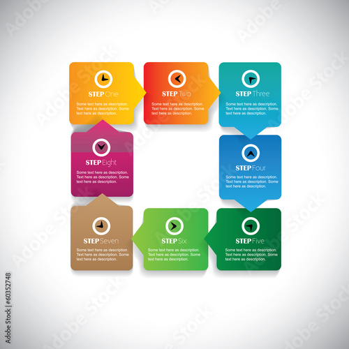 numbered sequence of steps flow - colorful vector infographic