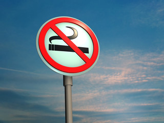 "Sign ""No smoking"" against sky"