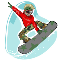 Vector illustration of cool snowboarder jumping