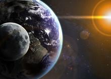 Ziemia w przestrzeni. Elementy tego zdjęcia dostarczone przez NASA