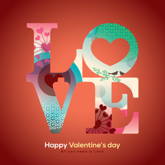 Valentine and wedding LOVE word with collage graphic