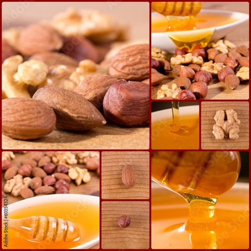 Collage of honey and oil seeds