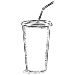vector sketch illustration - plastic cup
