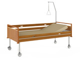 Medical wooden bed isolated at the white background