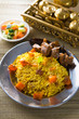 Arab rice, rice with meat and carrot in a bowl. Middle eastern f