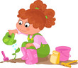 Cute young girl watering a sprout