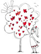 Young girl in love picking a hearts from a love tree