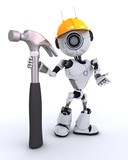 Robot Builder with a hammer