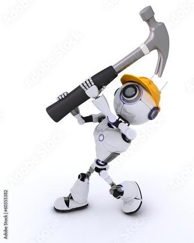 Robot Builder with a hammer