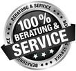 """Button Banner """"100% Beratung & Service"""" schwarz"""