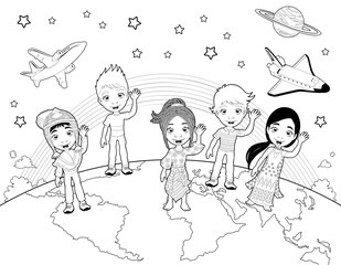 Children on the world in black and white.