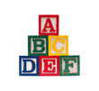 Wooden alphabet cubes with ABC letters