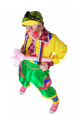 Funny clown with a flower from a balloon
